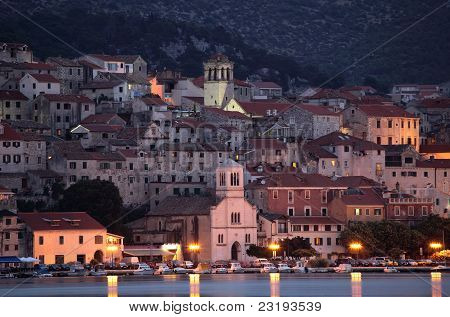 Croatian Town Sibenik At Dusk