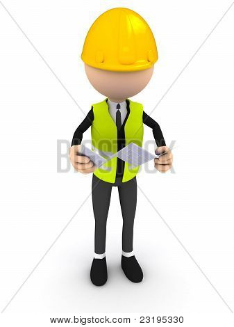 Engineer with blueprint over white background