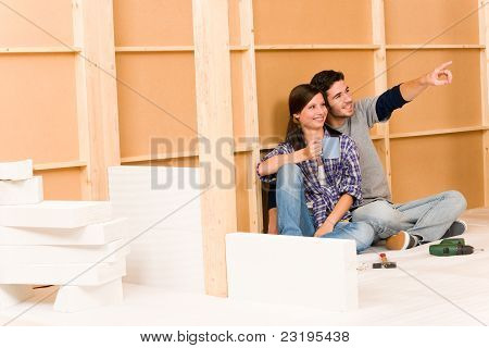 Home Improvement Young Couple Relax Building Wall