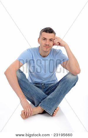 Young Handsome Possitive Man In Casual Clothes Smiling. Isolated On White Background