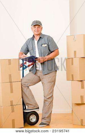 Messenger Mature Male Courier Delivering Parcels