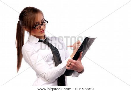 Beautiful Girl Secretary With Glasses