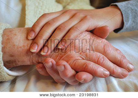 Grandmother and Daughter Holding Hands