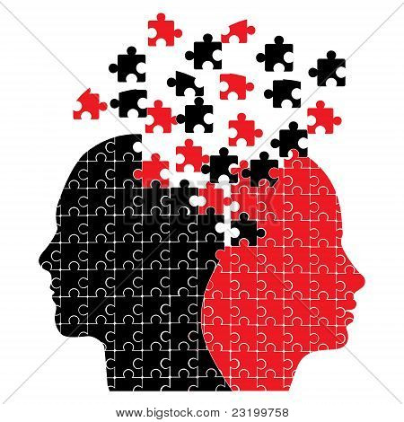 Jigsaw puzzle heads icon vector