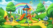 Children Playground. Nature Landscape, Park 3d Vector Panorama poster