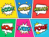 Retro Comic Speech Bubbles Set On Colorful Background. Expression Text Ouch, Cool, Like, Hello, Wow, poster