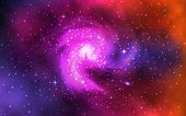Cosmic Spiral Galaxy. Realistic Color Space Background With Nebula, Stardust And Shining Stars. Univ poster