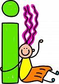stock photo of alphabet letters  - happy little girl with giant letter I  - JPG