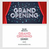 Grand Opening Vector Banner, Illustration, Invitation Card. Template Festive Invite Design With Red  poster