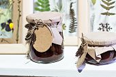 Banks With Homemade Jam.  Preserved Fruits. Homemade Jam In Jar Covered With Paper. Strawberry Jam poster