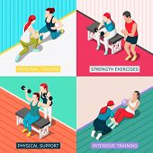 Personal Sport Trainers 2x2 Design Concept With Physical Support Strength Exercises Intensive Traini poster