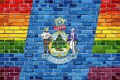 Brick Wall Maine And Gay Flags - Illustration, Rainbow Flag On Brick Textured Background,  Abstract  poster