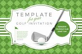 Template For Your Golf Invitation With Sample Text In Separate Layer- Vector Illustration poster