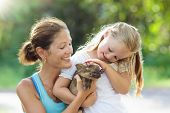 Kids And Farm Animals. Child With Baby Pig At Zoo. poster