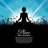 Постер, плакат: Силуэт девушки в Йога поза