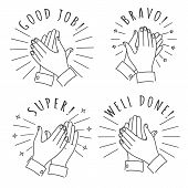 Doodle Hands Claps. Hand Drawn Applauding Clapping Hands Isolated On White Background, Winner Applau poster