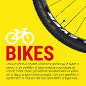 Bike, Bicycle Poster, Banner Vector Template. Closeup Of A Bicycle Wheel, Bike Icon And Sample Text  poster