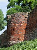 foto of fieldstone-wall  - The town wall in Tangermuende in Saxony-Anhalt was built in the 13th and 14th century. The medieval building is almost completely preserved.