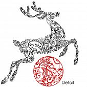 Christmas deer via different doodles ornaments and cute snowflakes
