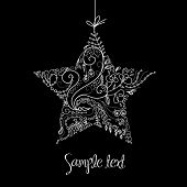 image of christmas star  - Black and White Christmas Star illustration - JPG