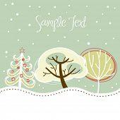 Постер, плакат: Ретро Рождественская открытка с милой деревьями и снега на нем