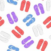 Realistic 3d Colorful Flip Flops Beach Slippers Sandals Seamless Pattern Background On A White Summe poster