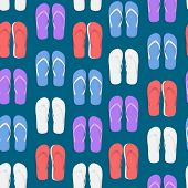 Realistic 3d Colorful Flip Flops Beach Slippers Sandals Seamless Pattern Background Summer Foot For  poster