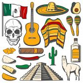 Cinco De Mayo Fiesta Celebration Icons Of Tequila, Jalapeno Pepper Or Cactus And Sombrero. Vector Tr poster