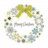 image of christmas wreaths  - Vintage Christmas wreath made from snowflakes - JPG