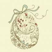 image of happy easter  - Easter egg with floral elements - JPG