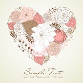 stock photo of heart shape  - Floral heart shape - JPG