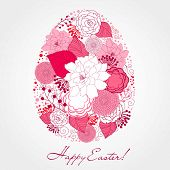 stock photo of pasqua  - Cute easter egg made from flowers - JPG