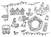 stock photo of campervan  - Sea doodles - JPG