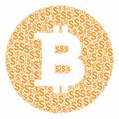 Bitcoin Coin Composition Of Dollar Symbols. Vector Dollar Currency Icons Are Combined Into Bitcoin C poster