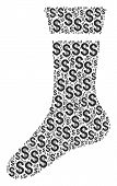 Sock Mosaic Of Dollar Symbols. Vector Dollar Currency Pictograms Are Organized Into Sock Illustratio poster