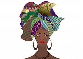 Portrait Of The Young African Woman In A Colorful Turban. Wrap Afro Fashion, Ankara, Kente, Kitenge, poster