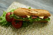 Baguette Sandwich With Turkey Breast, Cheese, Lettuce, Tomatoes And Onion On A Cutting Board. Long S poster