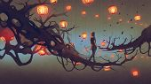 Man Walking On A Tree Branch With Many Red Lanterns On Background, Digital Art Style, Illustration P poster