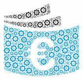 Euro Checkbook Collage Of Cogs. Vector Cogwheel Icons Are Combined Into Euro Checkbook Collage. poster