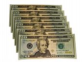stock photo of twenty dollar bill  - Isolated banknotes with serial numbers in ascending order - JPG