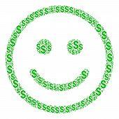 Glad Smiley Mosaic Of Dollar Symbols. Vector Dollar Icons Are Organized Into Glad Smiley Illustratio poster