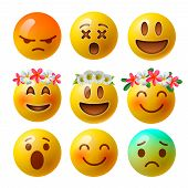Smiley Face Emoji Or Yellow Emoticons In Glossy 3d Realistic Isolated In White Background, Vector Il poster