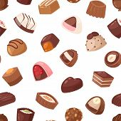 Chocolate Candy Vector Sweet Confection Dessert With Cocoa In Confectionery Shop Illustration Of Tas poster