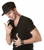 stock photo of puke  - Young Caucasian man gestures to puke over white background - JPG