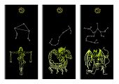 Set With Scales, Scorpio And Archer Zodiac Symbols Banners On Black. Hand Drawn Vector Illustration. poster