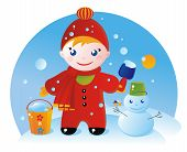 picture of debonair  - A little boy on a winter walk and his Snowman - JPG