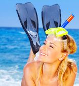 picture of swimsuit model  - Beautiful female closeup portrait on the beach wearing snorkeling equipment water sport healthy lifestyle concept - JPG