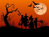 stock photo of moon silhouette  - Halloween background with silhouettes of children trick or treating in Halloween costume - JPG