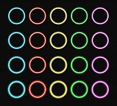 Colorful Neon Ring Set. Color Glowing Rings Various Intensity Light. Vector Illustration. poster
