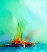 Abstract Colorful Oil Painting On Canvas Texture. Semi- Abstract Image Of Landscape Paintings Backgr poster